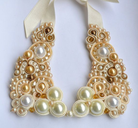 Beautiful and fine soutache, pearl beaded, cream-color collar