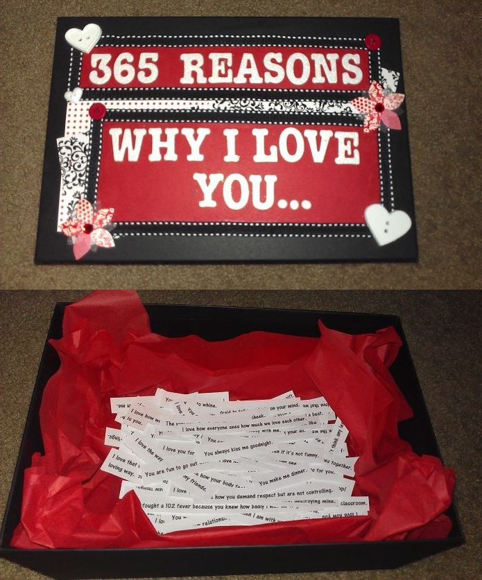 My Valentine's Day gift for Ryan. I got a cheap photo box from Michael's, decorated it with scrap book paper, ribbon, etc. Printed out 365 reasons why I love him and put them in the box. Every day he takes a reason out. The idea is for him to read a reason I love him each day :)