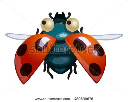 Beautiful ladybird. Game icon funny flying insect. Vector design for app user interface.