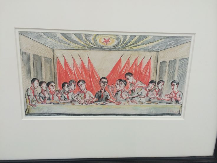 Zeng Fanzhi. Last supper drawing. Watercolour on paper. 2001