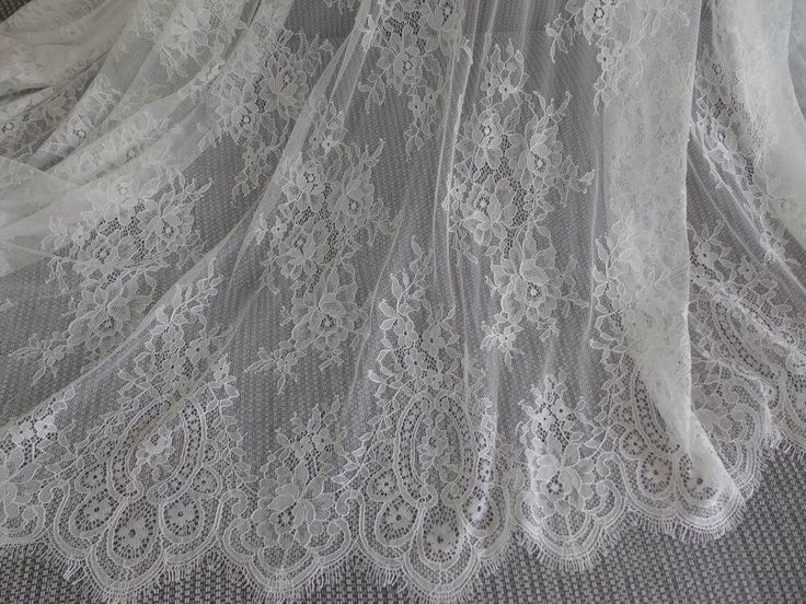 Elegant  White Chantilly Galloon Fabric with Floral Pattern Beautiful Wedding Gown Lace Fabric by prettylaceshop