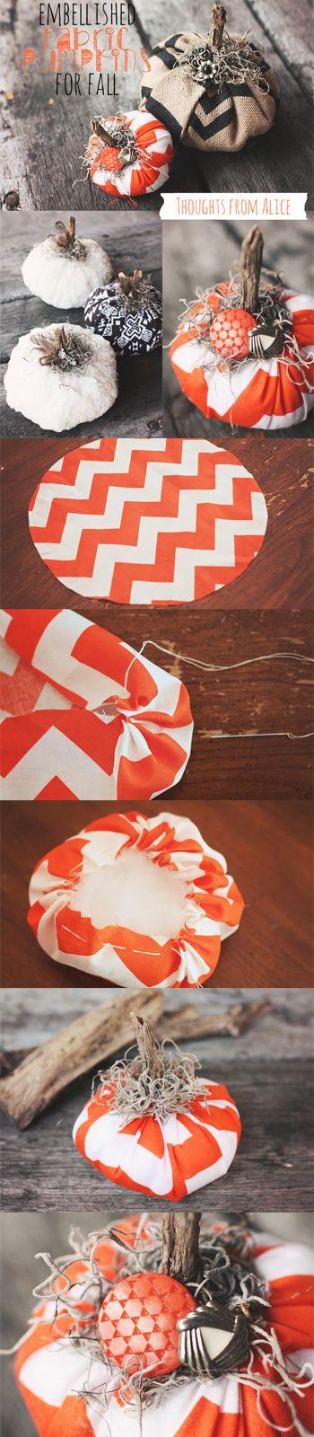 DIY Embellished Fabric Pumpkins for Fall.