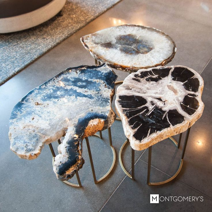 One-of-a-kind agate and geode accent tables | Available at Montgomery's in Sioux Falls, Madison or Watertown South Dakota