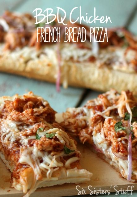 This BBQ Chicken French Bread Pizza is perfect for busy nights when you still want a delicious dinner!   SixSistersStuff.com