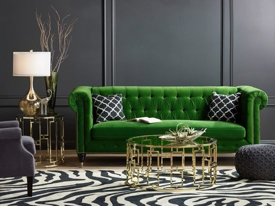 Gray living room with emerald green statement sofa