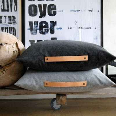 Put leather handles on your cushions. | The 52 Easiest And Quickest DIY Projects Of All Time