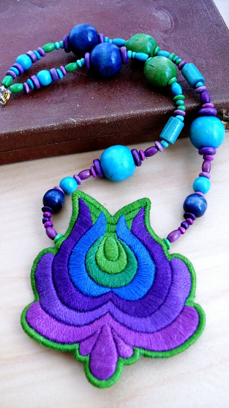 Hand embroidered hungarian folk necklace