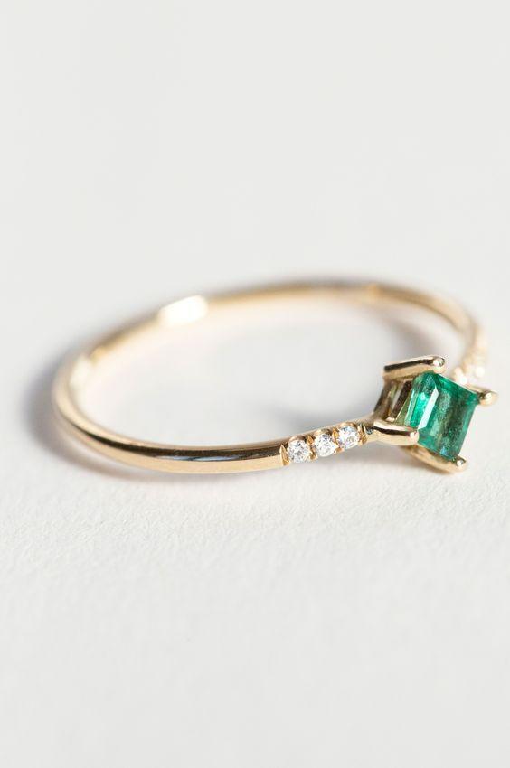 Jennie Kwon Designs Emerald Equilibrium Point Ring