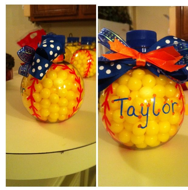 Lemon drops in a round bottle add laces and a bow. Cute gift for team.