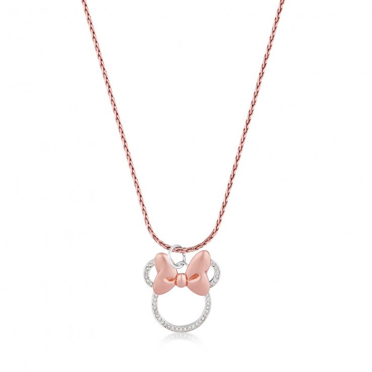 Disney Couture Minnie Mouse Rocks Rose Gold-Plated Long Crystal Necklace