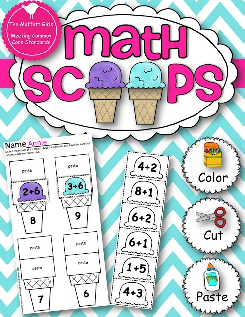 Math Scoops!  Fun way to practice addition and subtraction facts - Free!