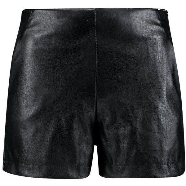 Boohoo Night Lily High Waisted Leather Look Shorts ($26) ❤ liked on Polyvore featuring shorts, faux leather shorts, high rise shorts, mini shorts, sequin hot pants and short shorts