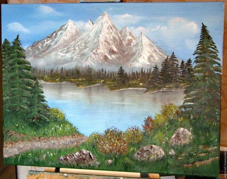 Купить Горное озеро - картина в подарок, картина для интерьера, картина маслом, Картины и панно