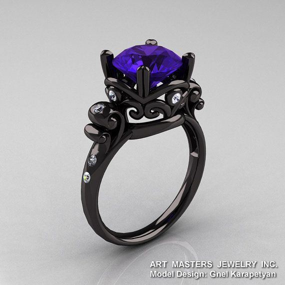 Modern Vintage 14K Black Gold 3.0 Ct Tanzanite by artmasters, <<< I am in love with this ring!