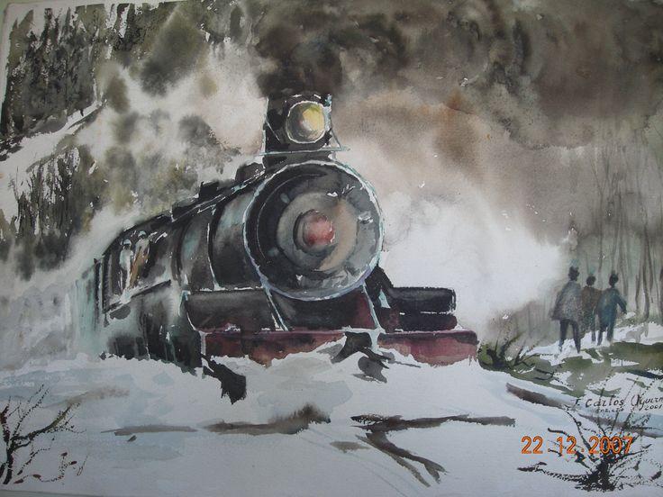 Tren en la nieve. Acuarela.
