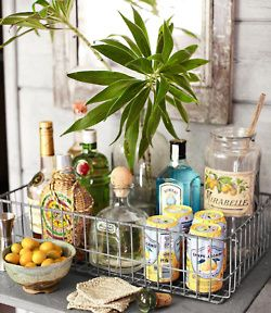 Tropical bar in a vintage wire basket.