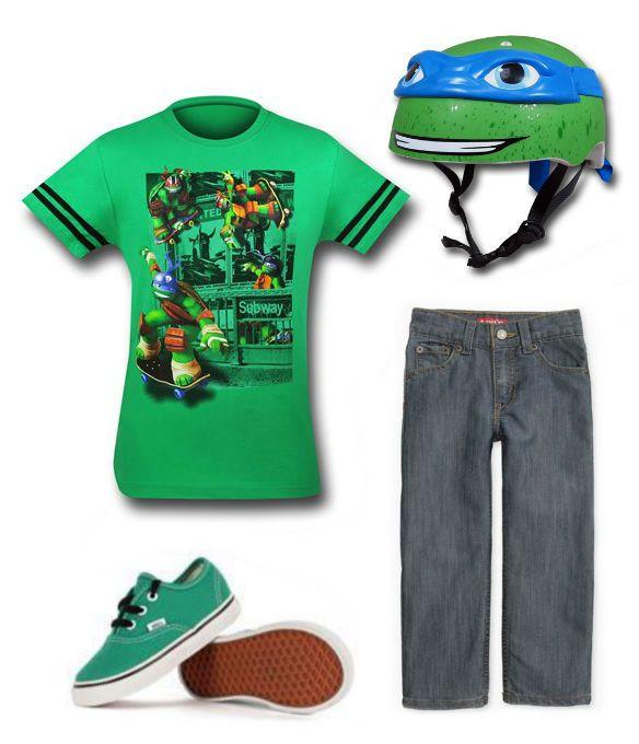 "JUST CHILLIN: ""TMNT"" Kids Outfit by Danielle Deihm TMNT Helmet: http://www.superherostuff.com/teenage-mutant-ninja-turtles/bicycle-helmets/tmnt-leonardo-kids-helmet.html?itemcd=hlmttmntleokd Levis: http://us.levi.com/product/index.jsp?productId=13118062&camp=CAGPLA_DF:13118062:LEVI_unknown Chucks: http://www.dresscodeclothing.com/product.aspx?sku=VN-0TSW90P&gclid=CICv8PvnsL4CFdF9OgodXwMA8Q"