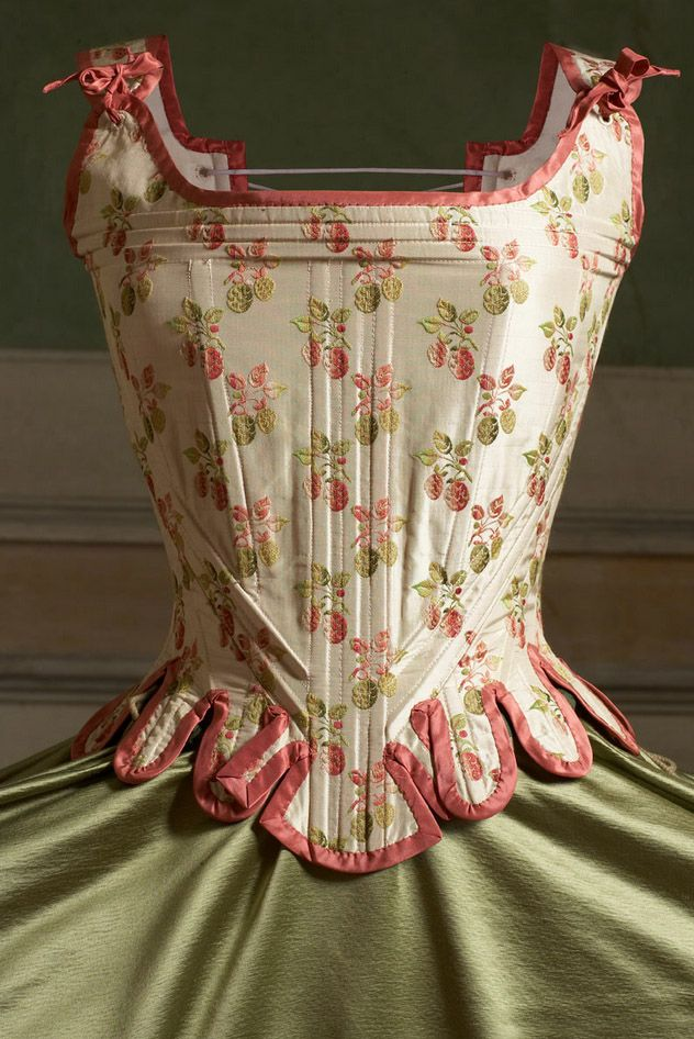 "Marie Antoinette corset, using ""Fragole"" embroidered silk fabric manufactured by Rubelli, Venice.  <3  Textiles, fabrics"