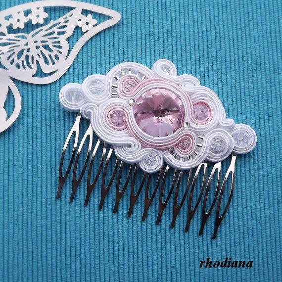 White & Powder Pink Soutache comb, Wedding Hair Accessory, Soutache…
