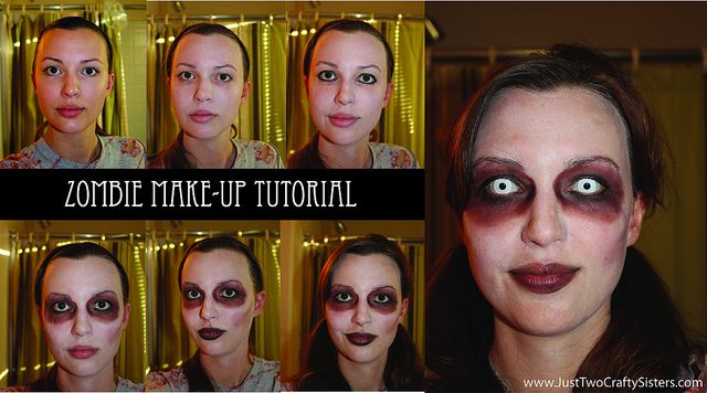 Zombie Make-up Tutorial by Just Two Crafty Sisters
