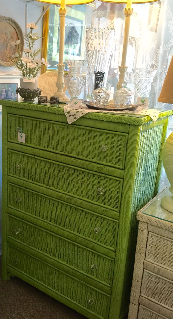 "Chalk painted ""Henry Link"" wicker dresser by Lexington  ~ painted in CeCe Caldwell ""Spring Hill Green"" by Southern Chick Interior Design"