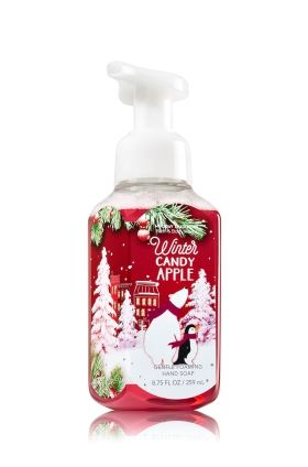 Winter Candy Apple - Gentle Foaming Hand Soap - Bath & Body Works - Our Gentle Foaming Hand Soap delivers a cloud of luxurious foam that transforms into a rich, creamy lather to gently wash away dirt and germs, while soothing Aloe and nourishing Vitamin E leave hands feeling soft, smooth and lightly scented!