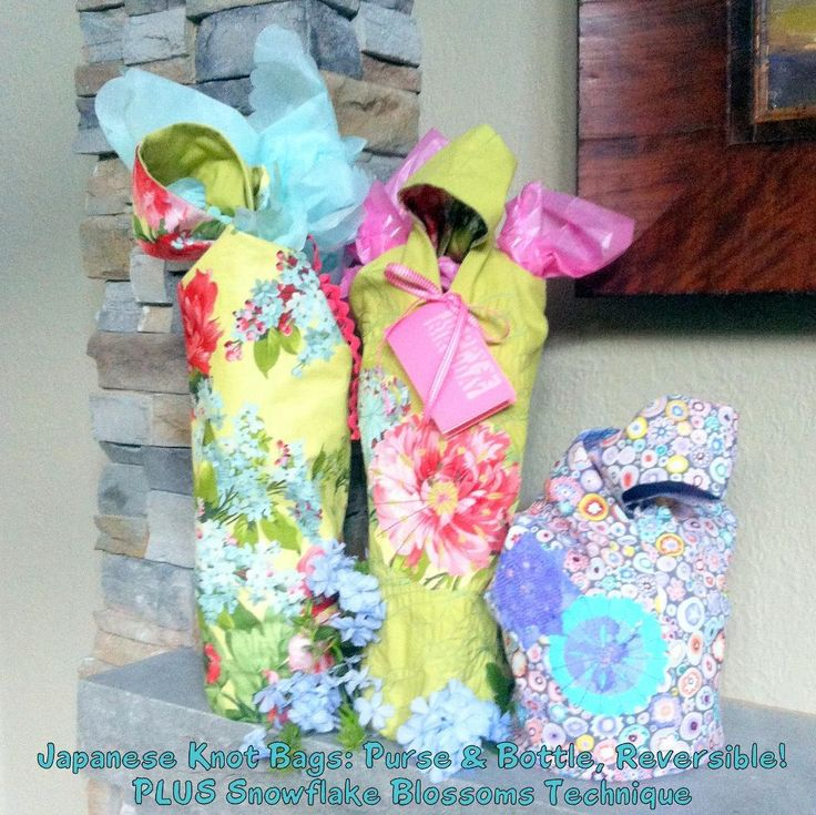 ww Japanese Knot Bags PLUS Blossom - love the reversible wine tote with gift tag!! no bow needed