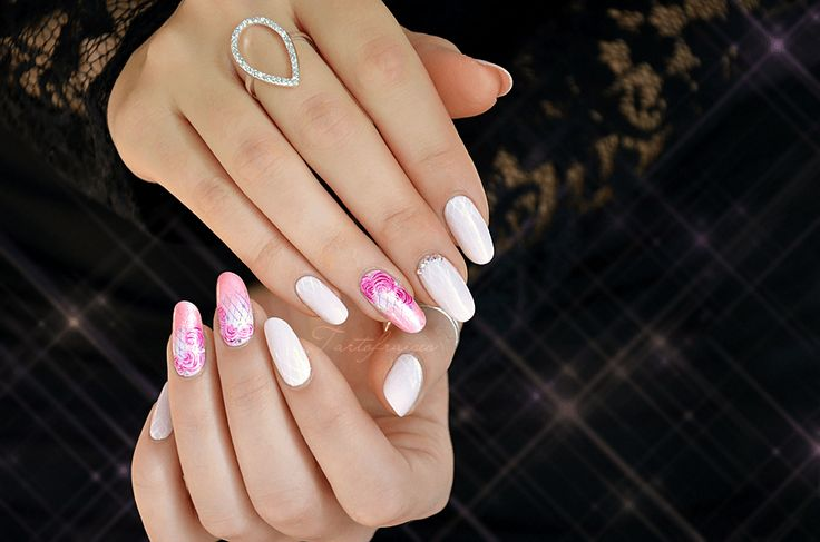 nail art rose romantique vintage aquarelle
