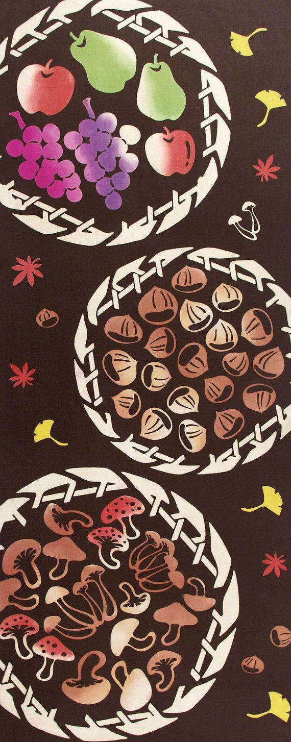 Japanese Tenugui Towel Cotton Fabric, Delicious Autumn Food, Fruits, Mushroom, Nuts, chestnut, Hand Dyed Fabric, Kawaii Home Decor, JapanLovelyCrafts