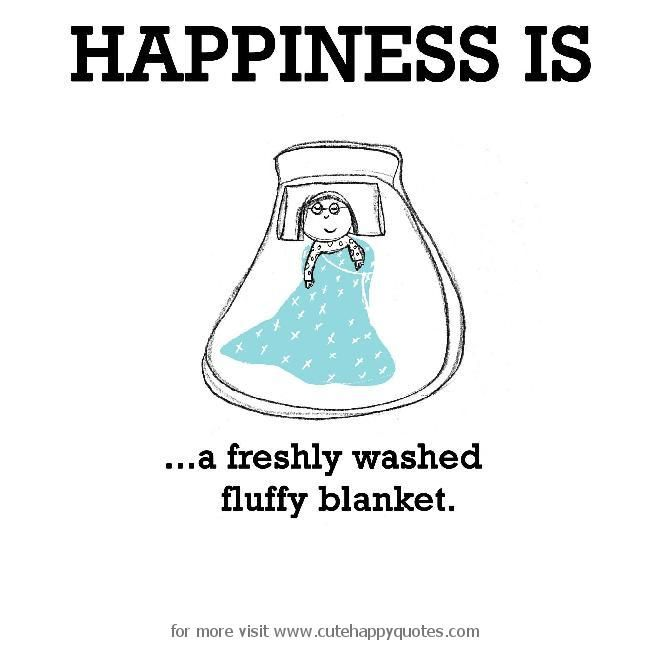 Happiness is, a freshly washed fluffy blanket. - Cute Happy Quotes