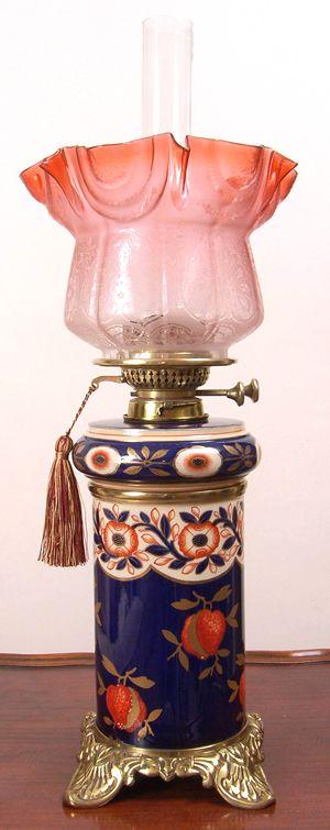 Kerosene lamp with moderator-style fount, duplex burner