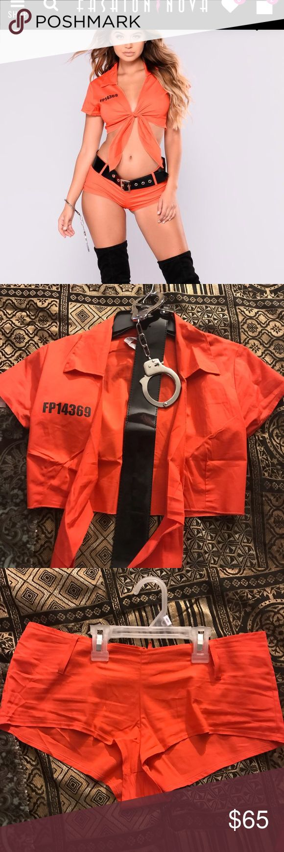 Fashion Nova Inmate Costume Inmate costume size S/M price firm. Brand New they sent me 2. Comes with Top,Shorts,belt and hancuffs with keys. the cuffs are metal and the belt is thick. Not cheap material. was 69.99 on website plus shipping Fashion Nova Other