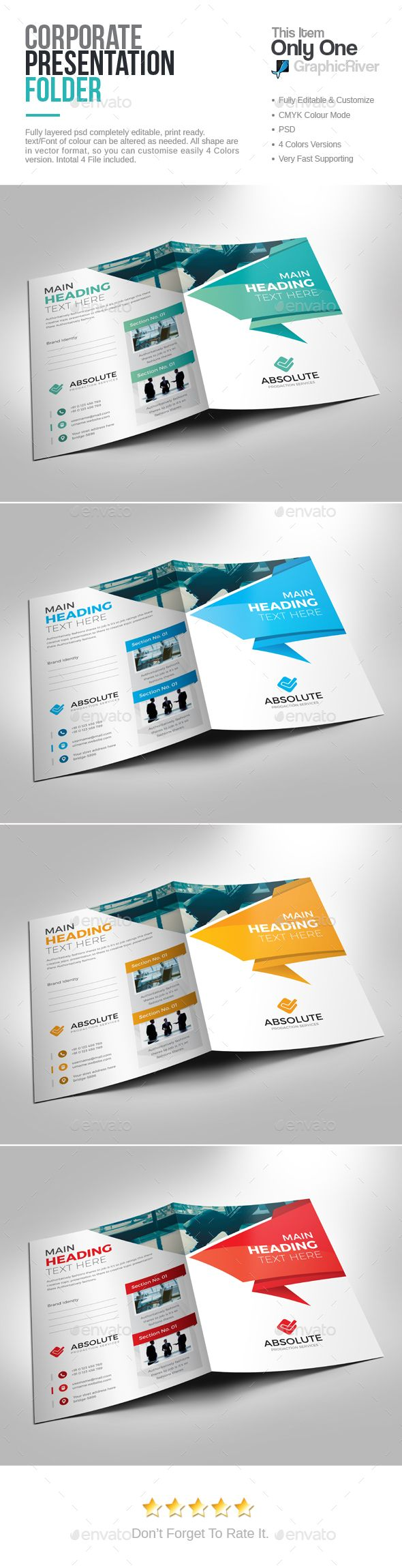 Corporate Presentation Folder  — PSD Template • Only available here ➝…