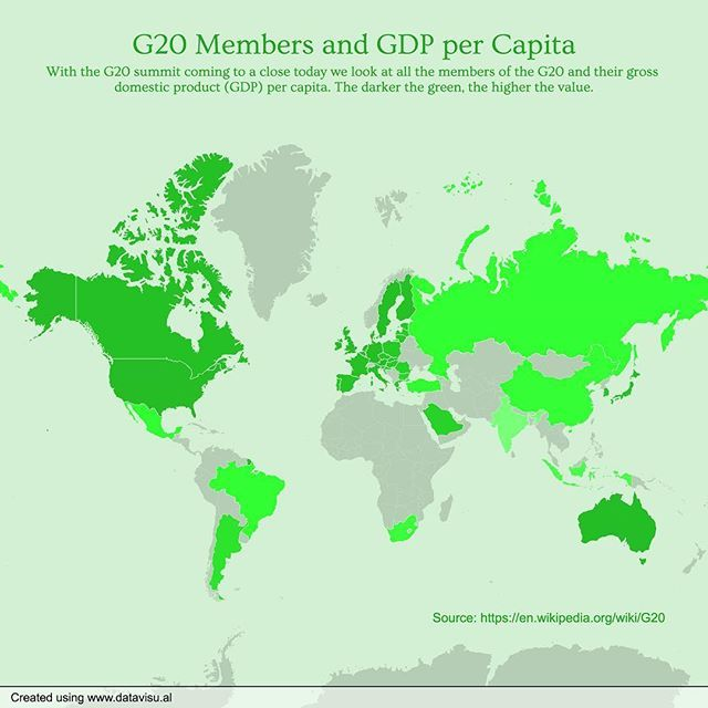 189/365 G20 Members and GDP per Capita. #everyday #chartaday #g20 #g20summit #gdp #gdppercapita #g20countries #countries #global #world #globe #trumpputin #chart #graph #map #data #dataviz #datavisual #datajournalism #datavisualization #journalism #news #media #design #visual #visualization #infographic #infographics #informationdesign