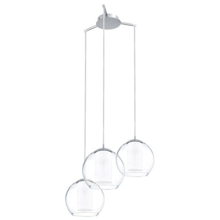 2873-002  3 light pendant, clear and opal glass