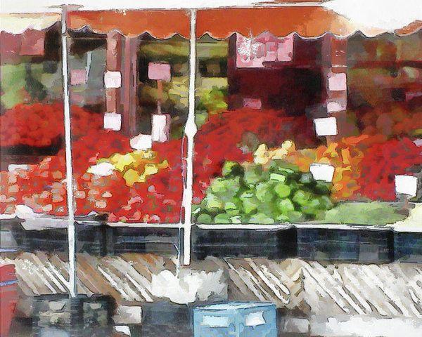 Corner Market Art Print by Leslie Montgomery.