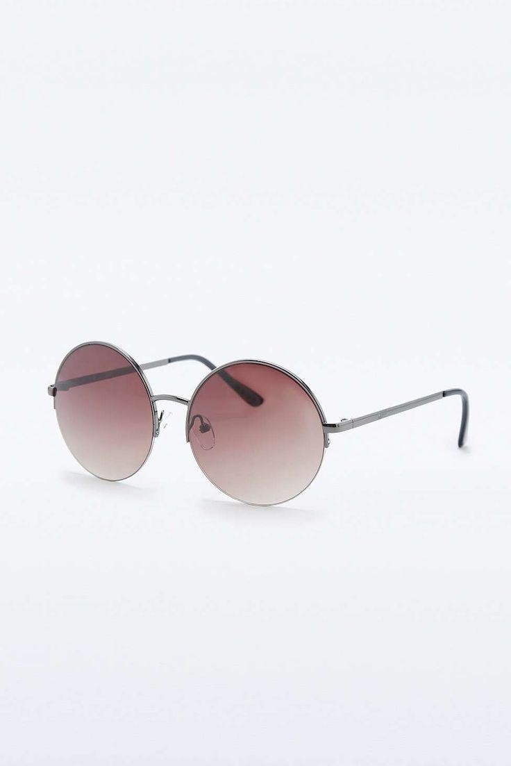 Shiny Gunmetal Round Sunglasses