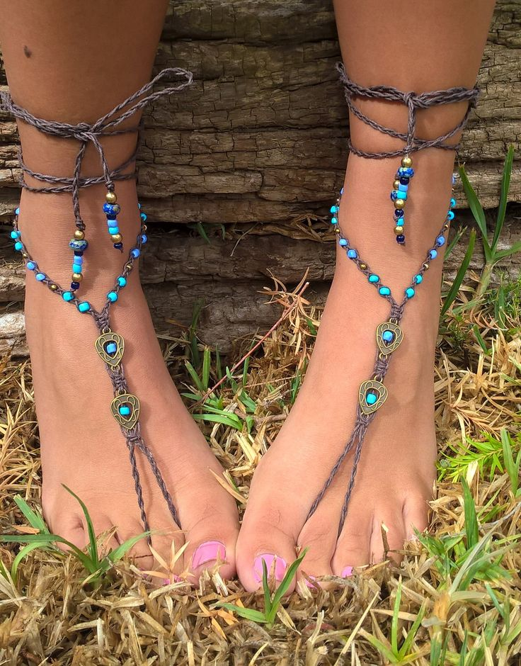 Shades of Blue Barefoot Sandals, Hemp Bohemian Barefoot Sandals, Macrame Barefoot Sandals, Hand Made in South Africa by AhyokaByBernice on Etsy