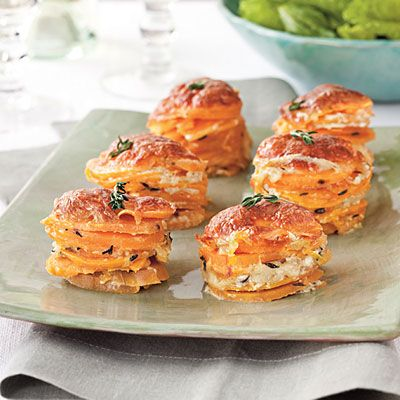Scalloped Sweet Potato Stacks    Fancy enough for company, this recipe bakes sweet potatoes, mozzarella cheese, and fresh thyme in individual stacks. <Side Dishes, Sweets Potatoes Recipe, Southern Recipe, Food, Yummy, Cooking, Potatoes Stacked, Stacked Recipe, Scallops Sweets