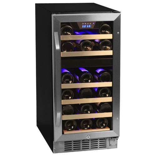 EdgeStar 26 Bottle Dual Zone Stainless Steel Built-In Wine Cooler