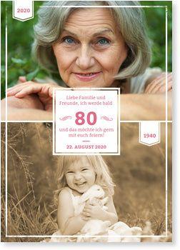 Früher und Heute in Pink Einladungskarten 80. Geburtstag
