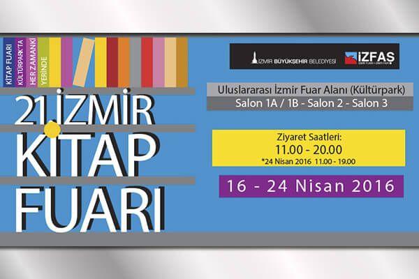 İzmir Kitap Fuarı 2016 , 16 - 24 Nisan 2016 tarihleri arasında Kültürpark'ta düzenleniyor olacak. 21. kez gerçekleştirilecek fuar ayrıntıları