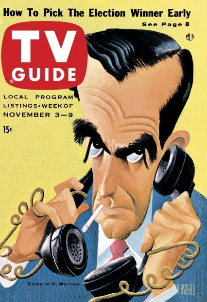 TV Guide November 3, 1956 - Edward R. Murrow by Al Hirschfeld