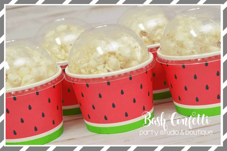 Set of 10 -Watermelon Birthday Party Cups, Favor Cups, Snack Cups, Ice Cream Cups by BashConfetti on Etsy