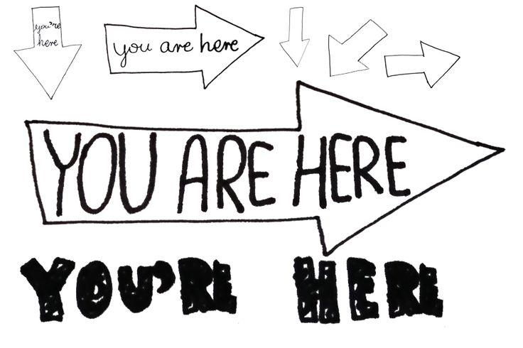 You're here journal handwritten tags - journaling.