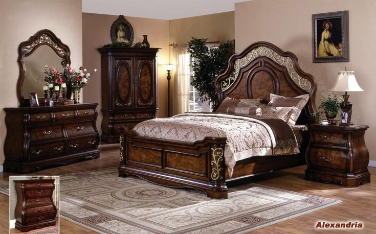 Alexandria Elegant Solid Wood Traditional Bedroom Set By