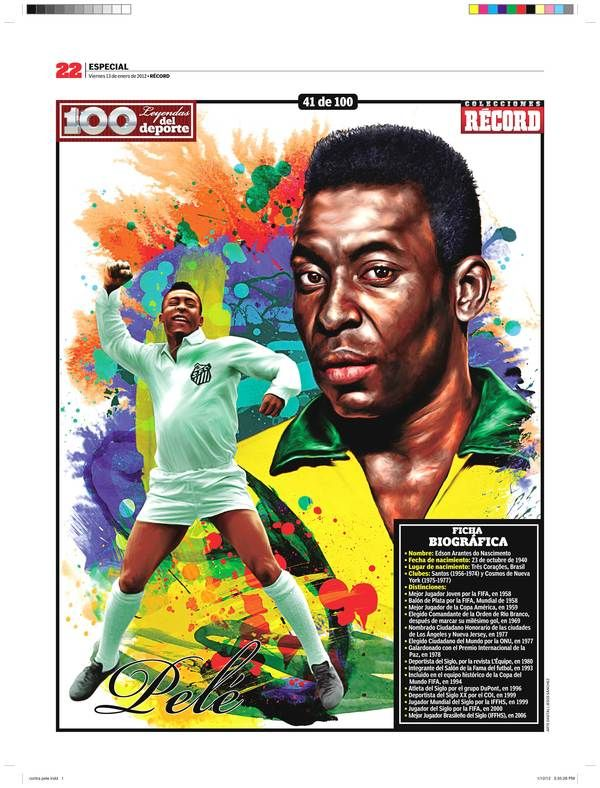 Pelé 100 Leyendas del Deporte / 100 Sports Legends by Jesús R. Sánchez, via Behance