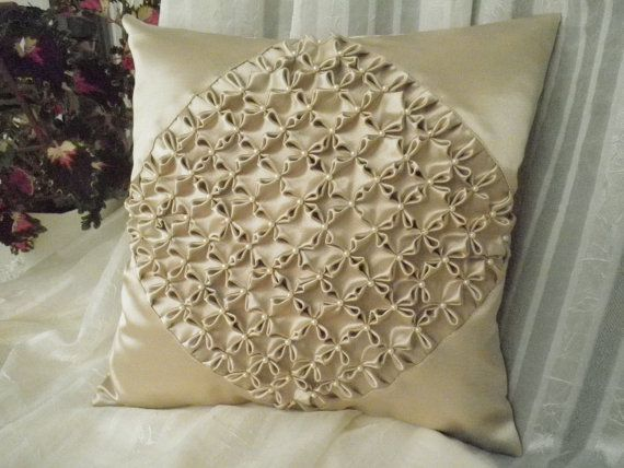 Gray Olive Smocked Beaded Cushion Cover,Vintage Style,Gray Cushion,Smocked Pillow,16inch Pillowcase,A mixture of Light Gray and Light Olive