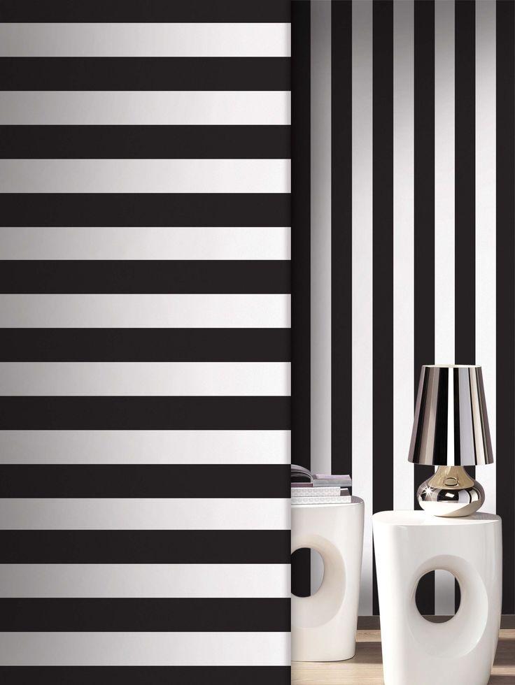 empapelado rayas blanco y negro papel de parede