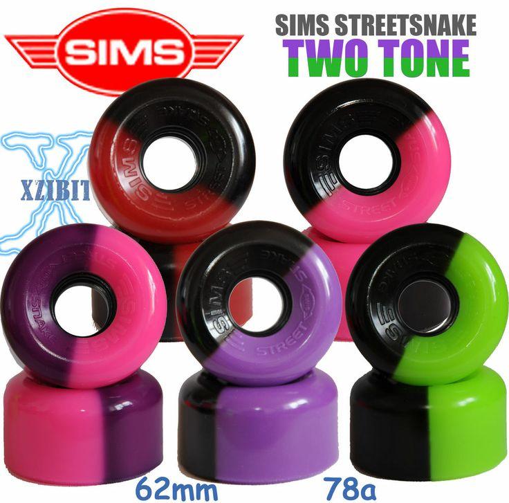 SIMS STREET SNAKE 2-Tone Roller Skate Wheels fit Bauer, Roces, SFR, Graf